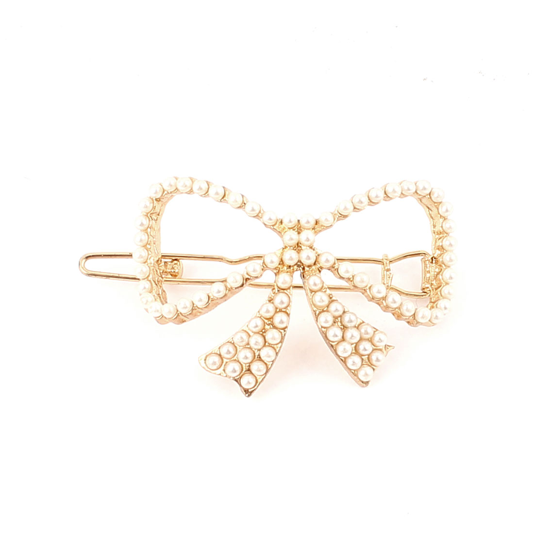 Metal Faux Beads Decor Bowknot Design Hair Clip Barrette Gold Tone White for Woman