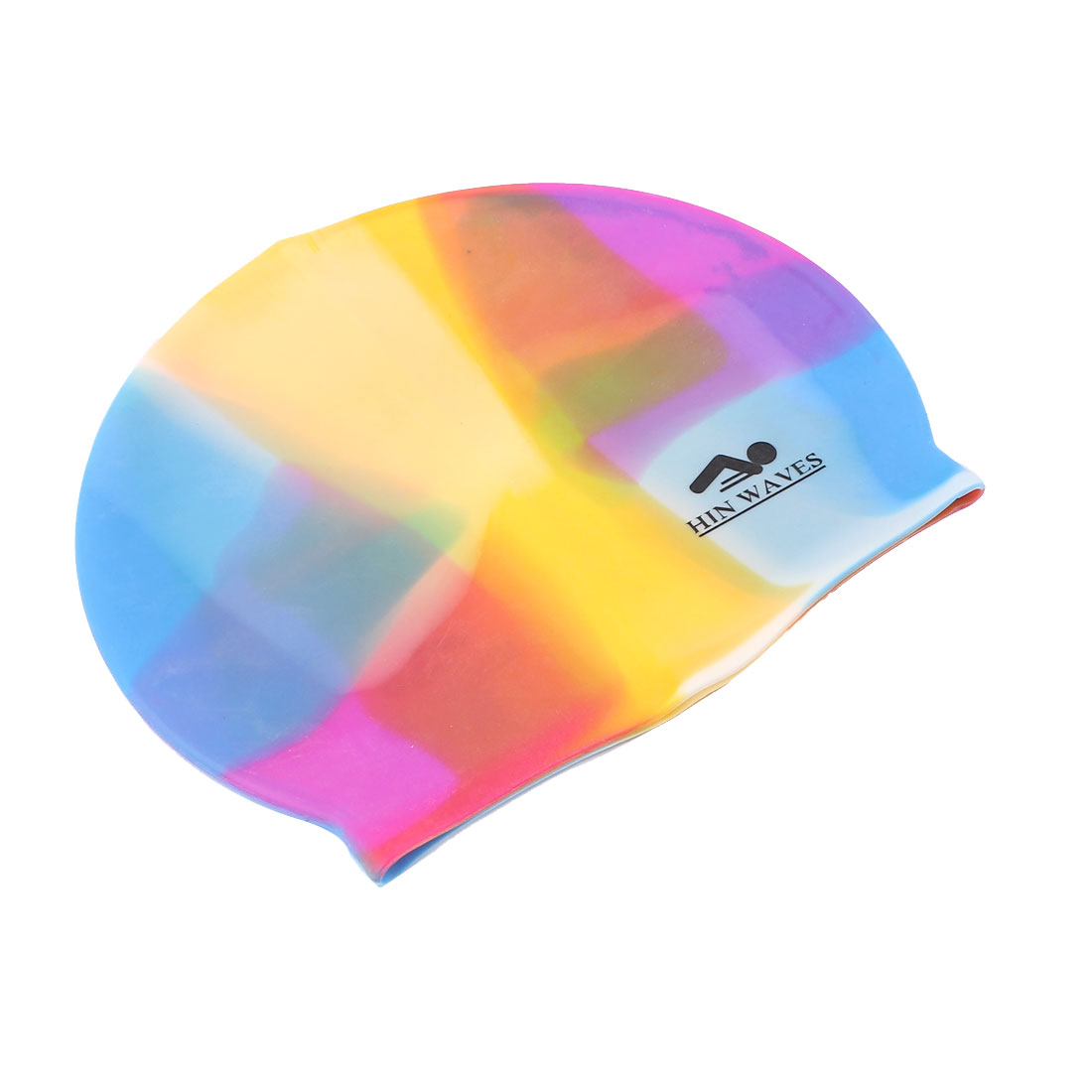 Sporty Dolphin Pattern Silicone Swim Swimming Cap Multicolor for Adults