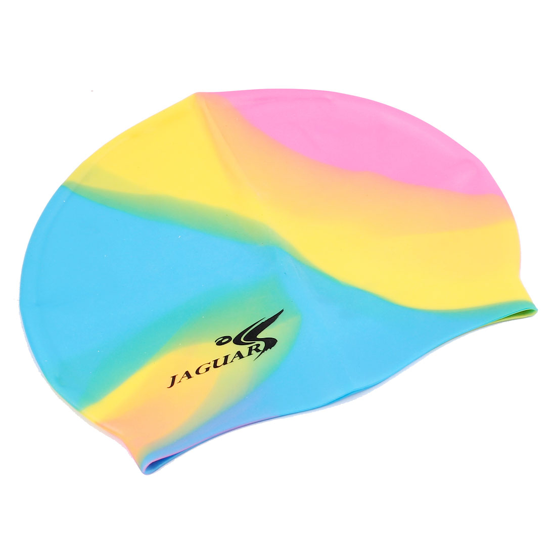 Sporty Dolphin Pattern Silicone Swim Cap Swimming Accessory for Adults Blue