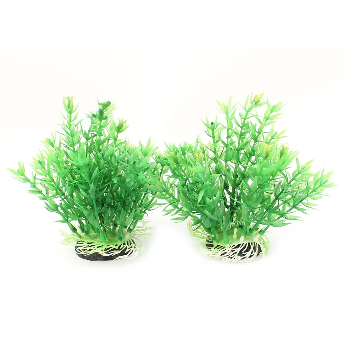 """2 Pcs Aquarium Tank Plastic Emulational Aquatic Plant Decor 6.4"""" Height Green"""