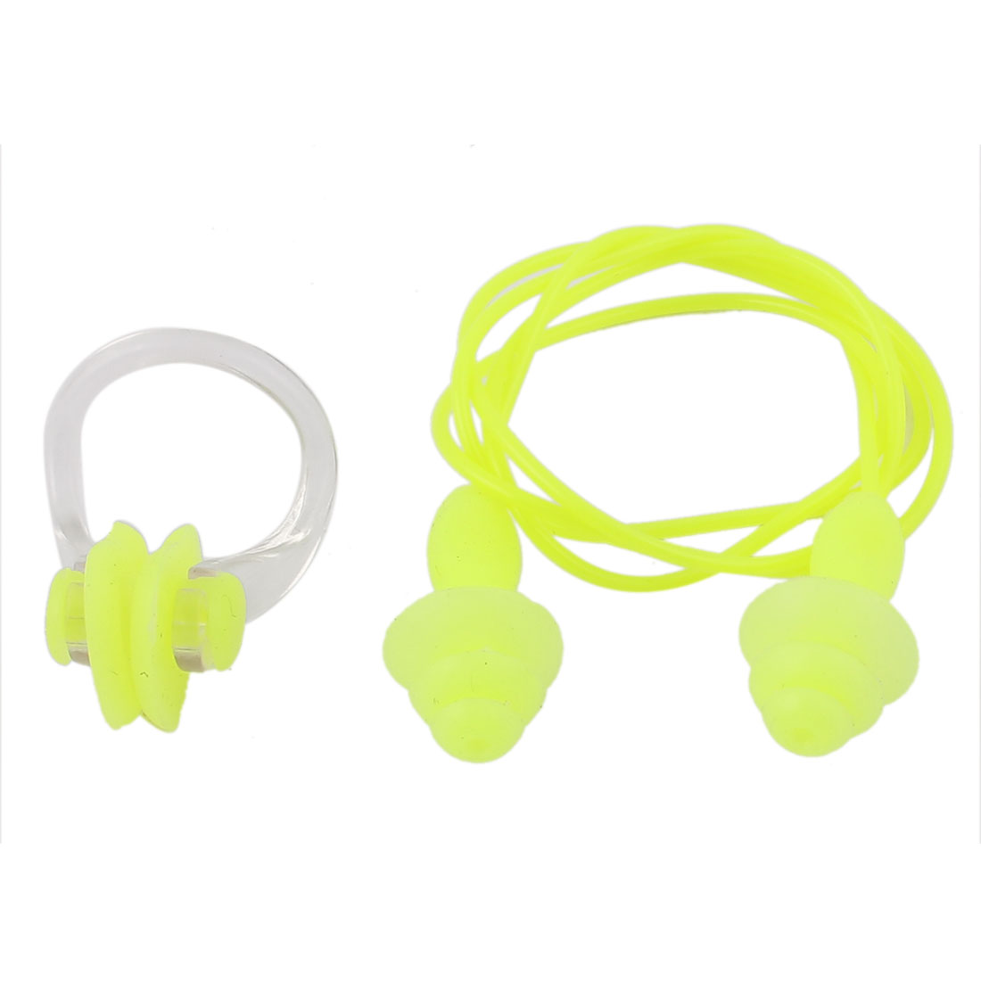 Water Sports Swimming Silicone Earplugs Plastic Nose Clip Yellow Clear Set 2 in 1