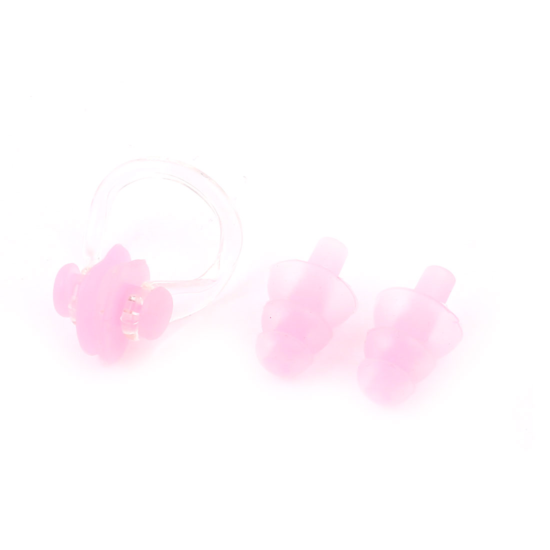Water Sports Swimming Silicone Earplugs Plastic Nose Clip Pink Clear