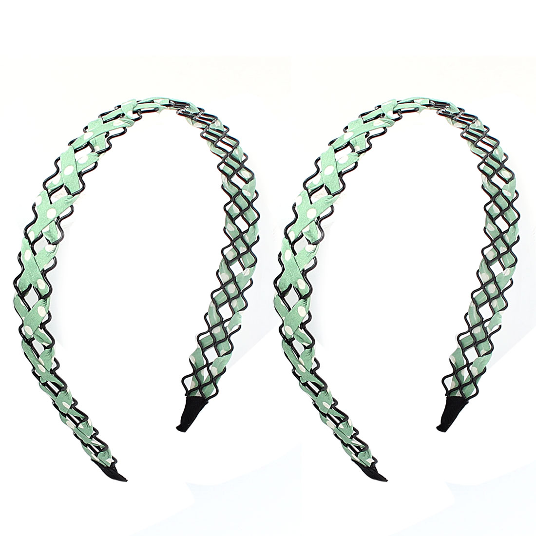 Girl Green Cloth Braided Metal Wave Hairband Hair Hoop Clip 2 PCS