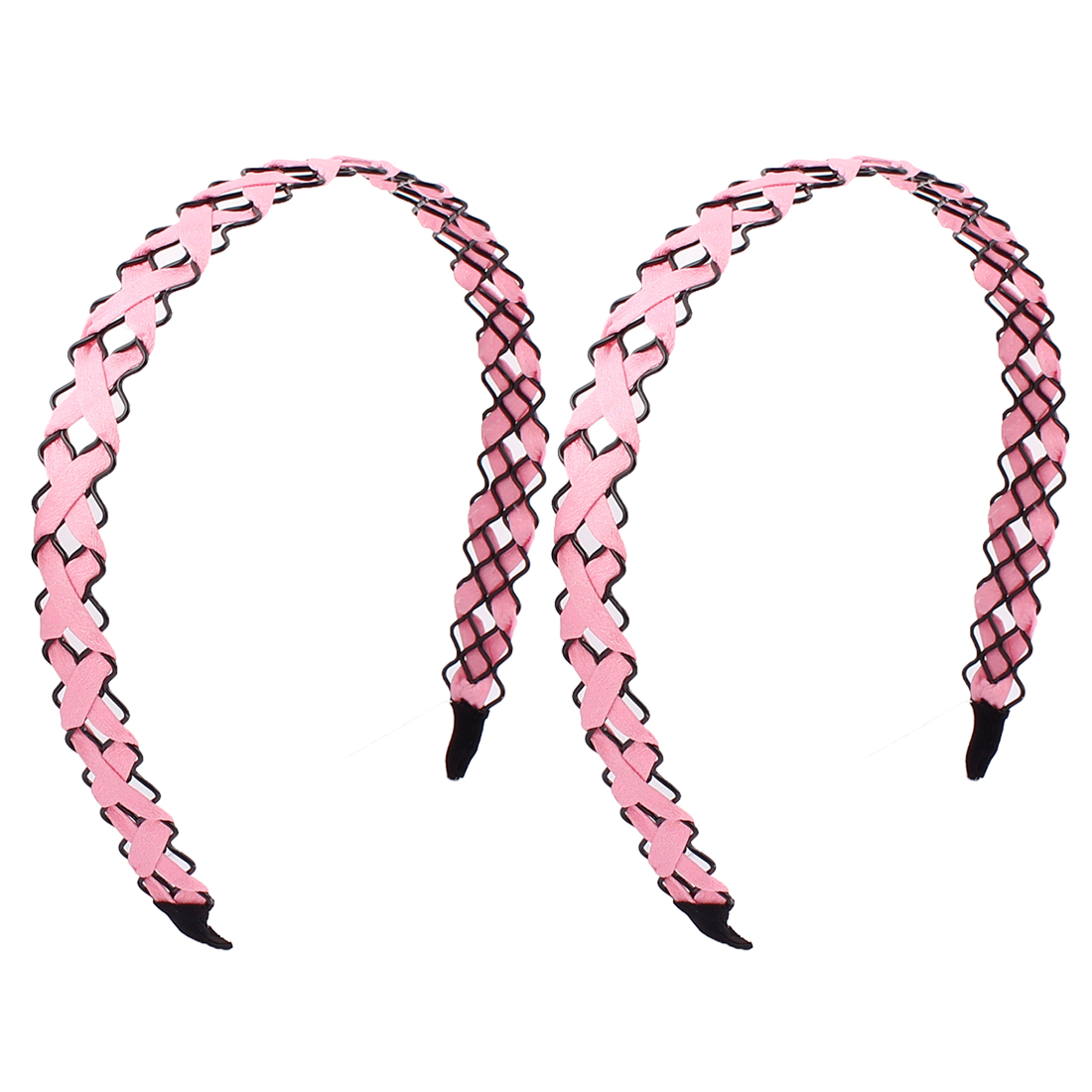 Girl Pink Cloth Braided Metal Wave Hairband Hair Hoop Decor 2 PCS