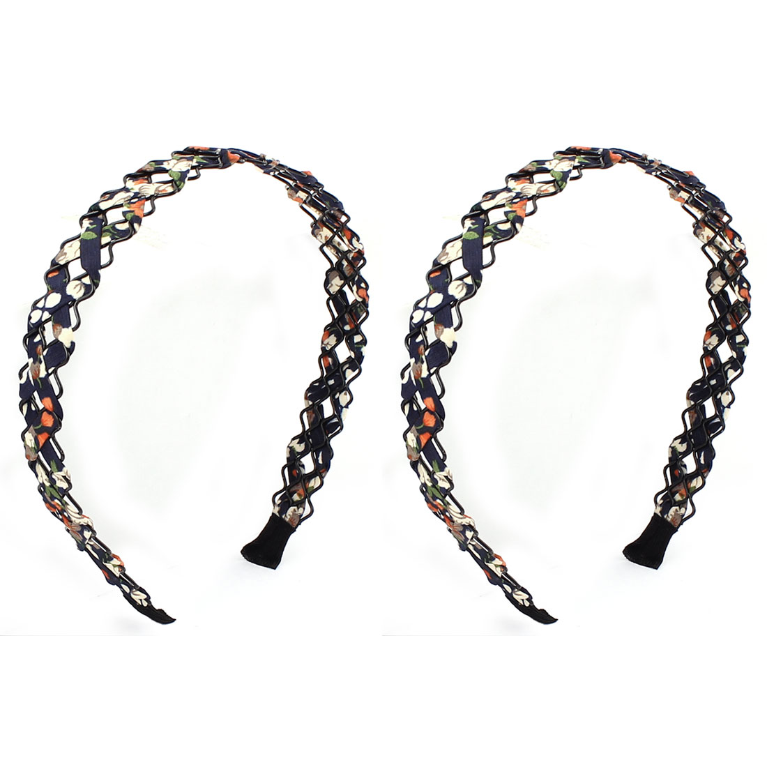 Girl Blue Black Braided Rope Cloth Pattern Weave Decor Hairband Hair Hoop 2 PCS