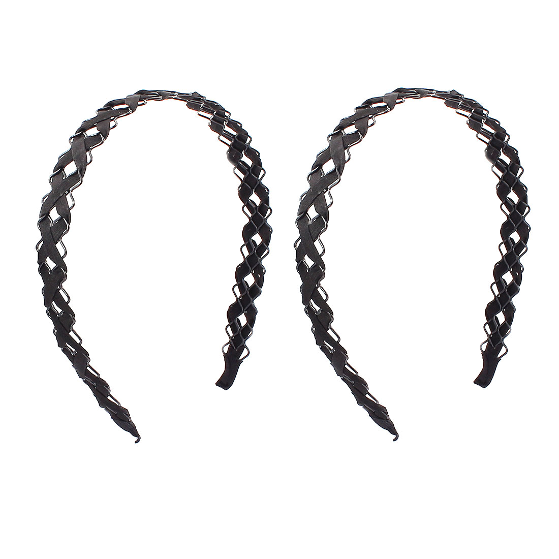 Black Cloth Braided Wave Hairband Hair Hoop Headband Decor 2 PCS