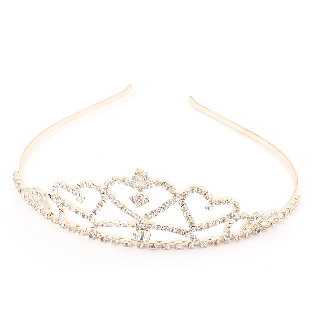Sparkly Faux Rhinestone Inlaid Crown Shaped Hair Hoop Ornament for Lady