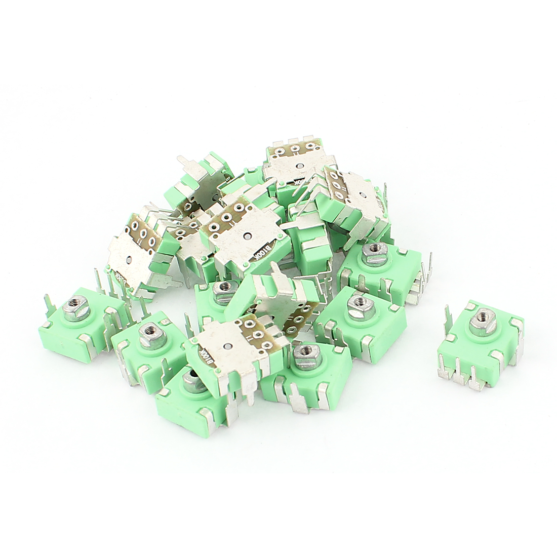 20Pcs Green Plastic Base 3 Terminals 100K Ohm PCB Mount Trimmer Potentiometer Resistors