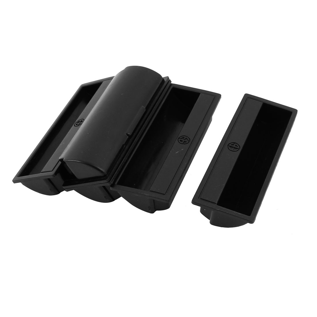 5Pcs Black Plastic Recessed Flush Pull Door Finger Insert Slide Handle