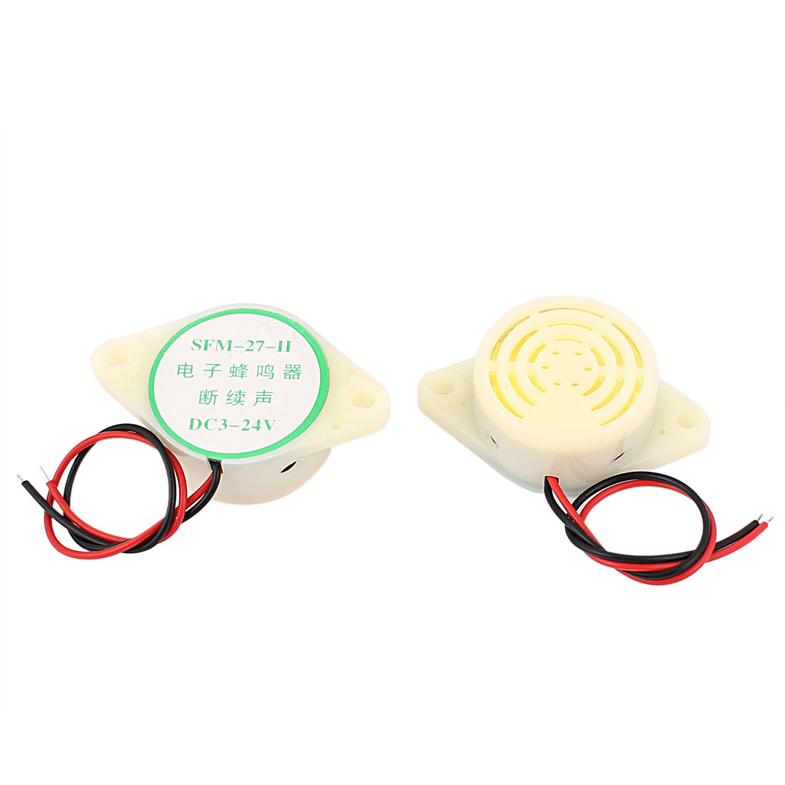 2pcs DC 3-24V Industrial Continuous Sound Electronic Buzzer White
