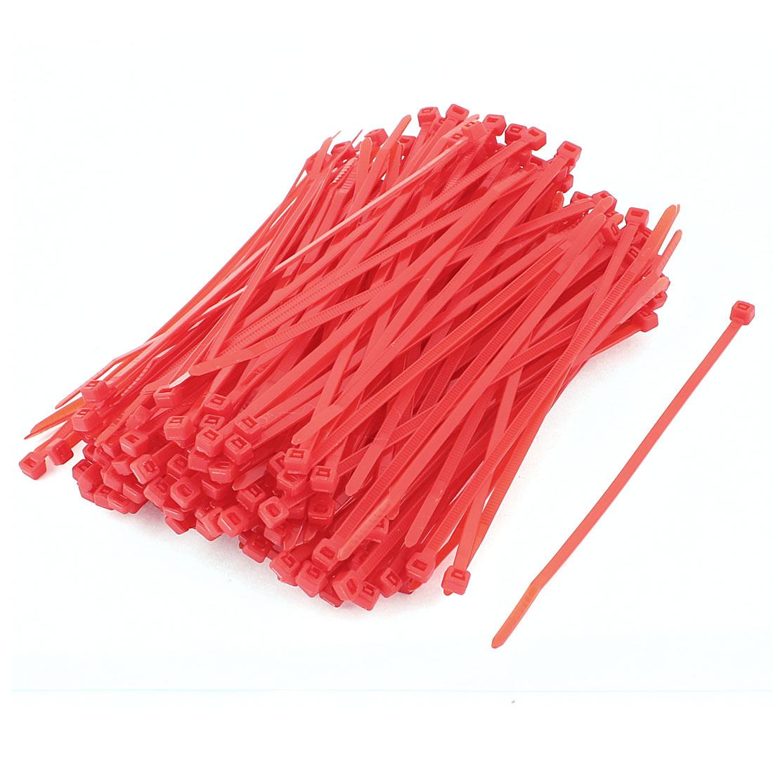 Nylon Self Locking Zip Trim Wrap Cable Wire Tie Red 3.6 x 150mm 250Pcs