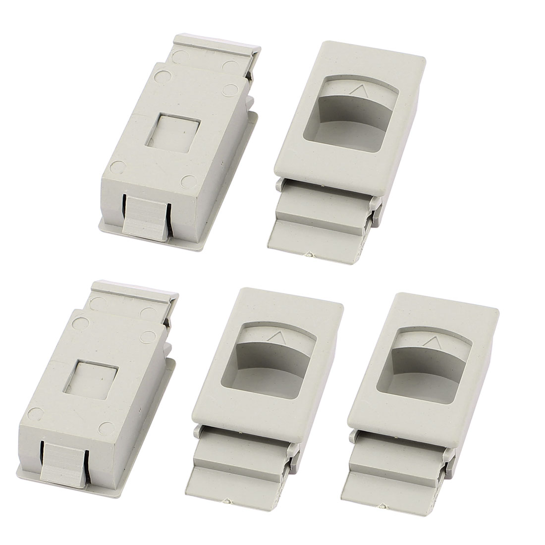 Cabinet Cupboard Drawer Inside Pull Triangle Mark Plastic Latch Gray 5pcs