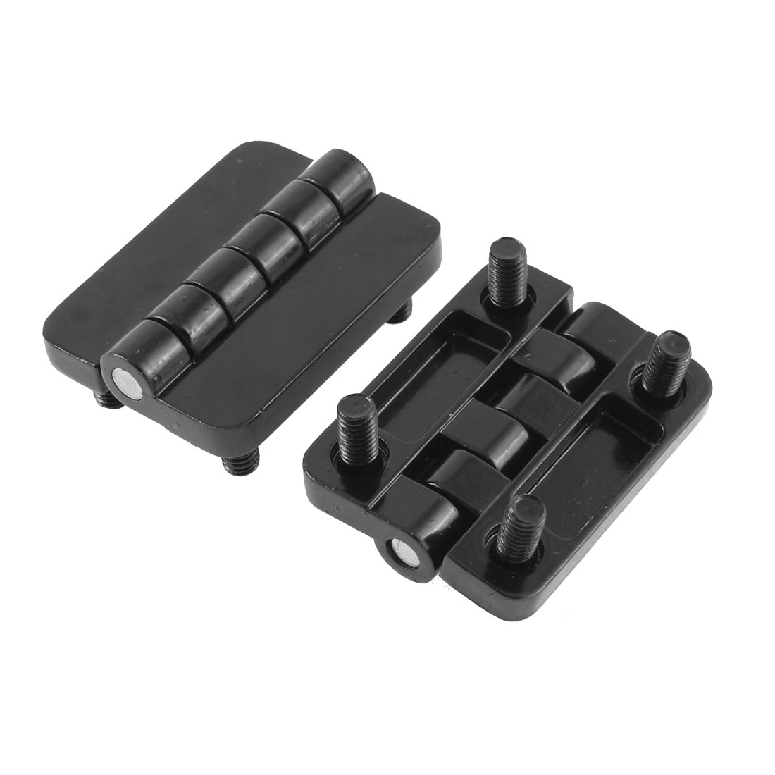 Cabinet Closet Door Screw On Type Butt Hinge Black 2Pcs