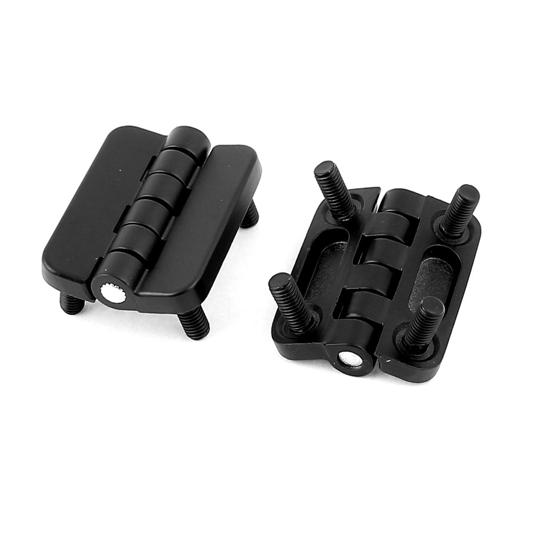 Household Screw On Type Metal Cabinet Closet Door Butt Hinge Black 2pcs