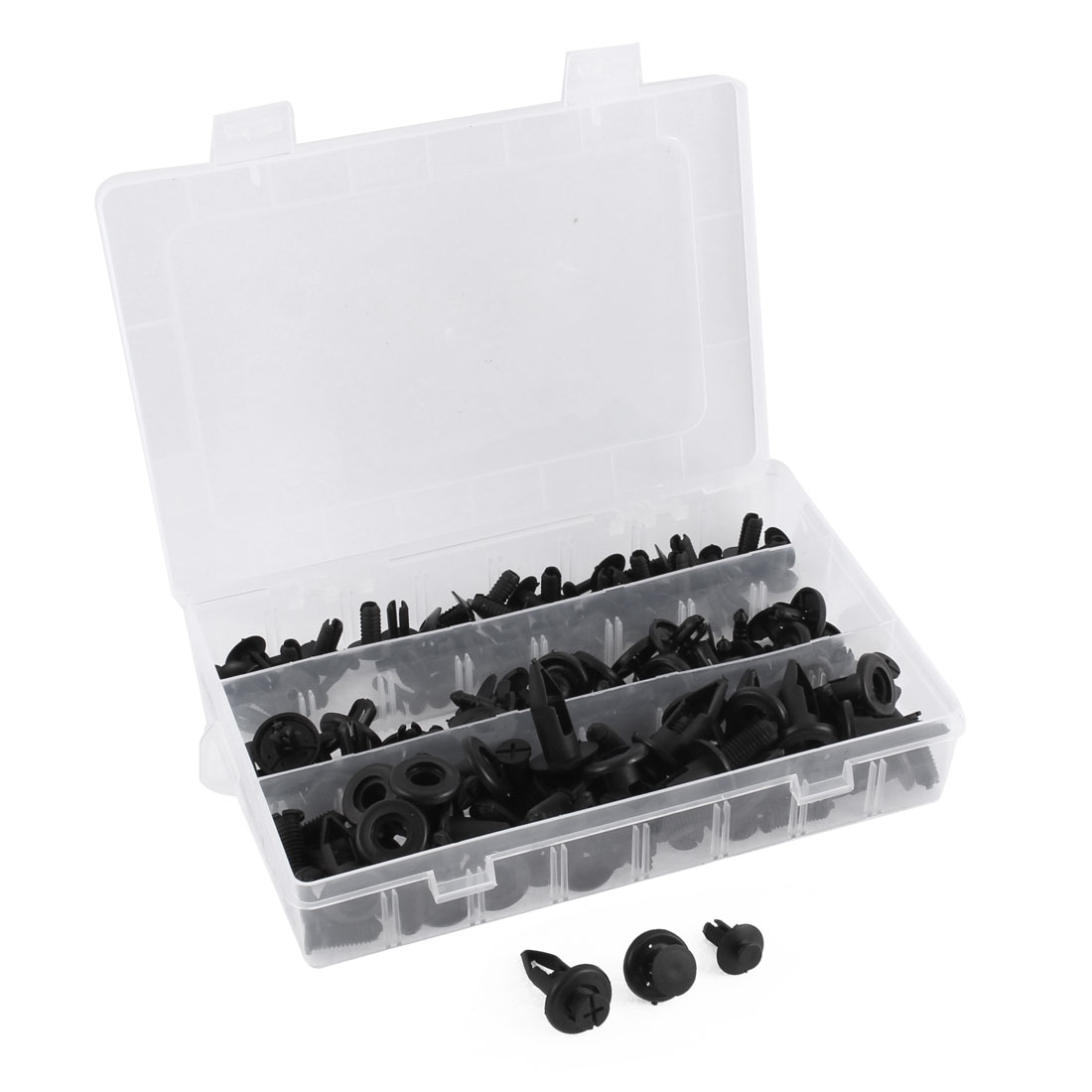 90 Pcs in 1 Black Plastic Rivets Push-Type Panel Hood Retainer Clips