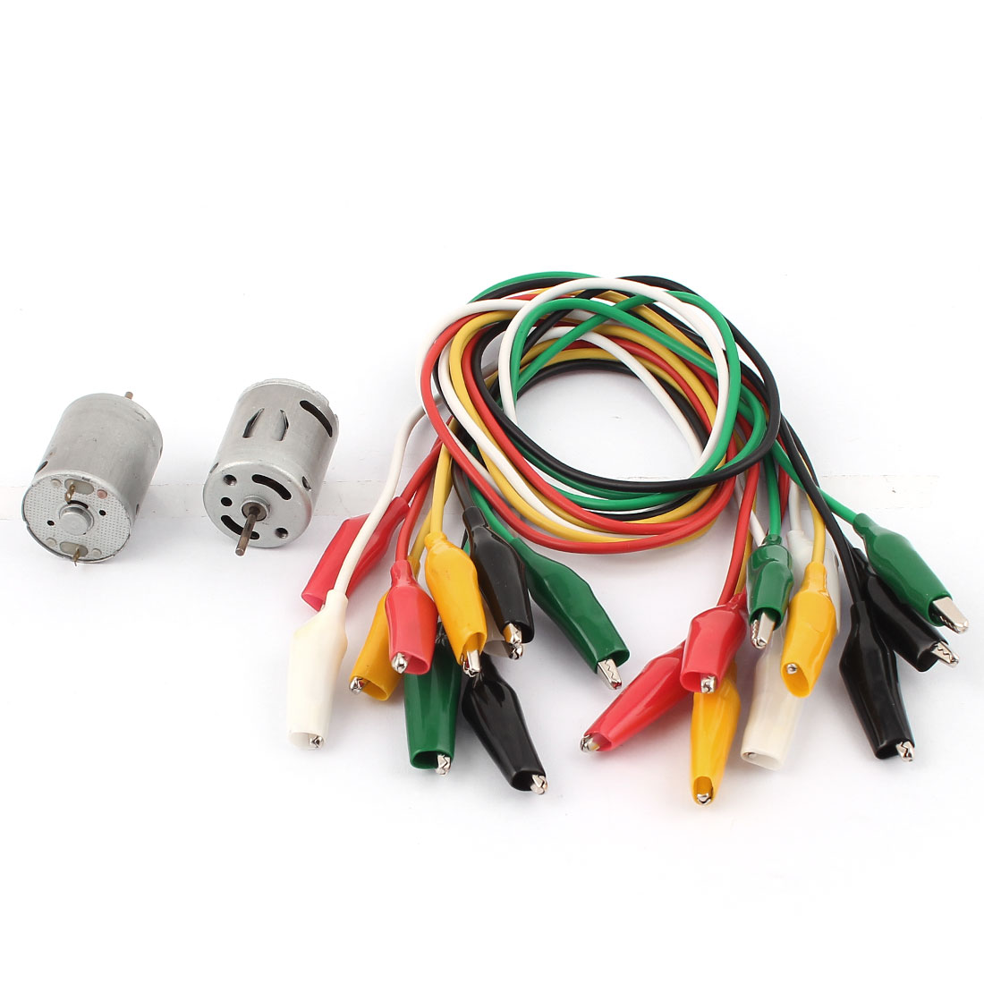 2Pcs DC 3V 5000RPM Toy Motor w 10Pcs Double-end Alligator Clips Test Work Jumper Wire