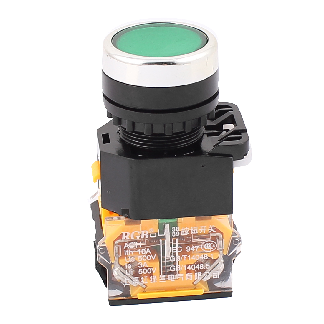 Green Button 4 Terminals DPST Momentary Emergency Stop Push Button Switch