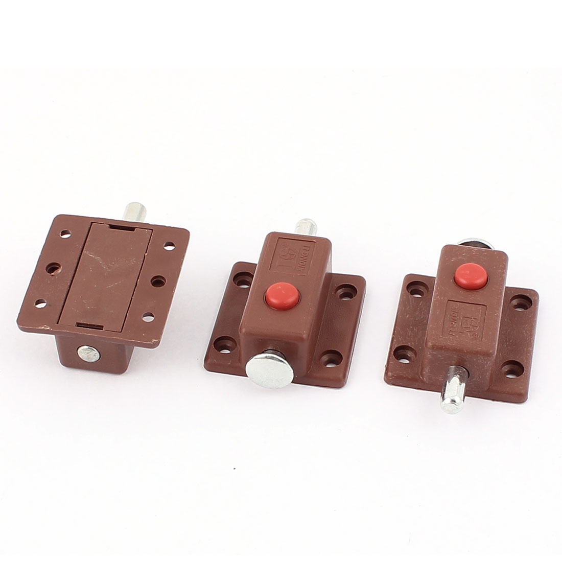 Round Push Button Control Cupboard Door Latch Lock Barrel Bolt 3pcs