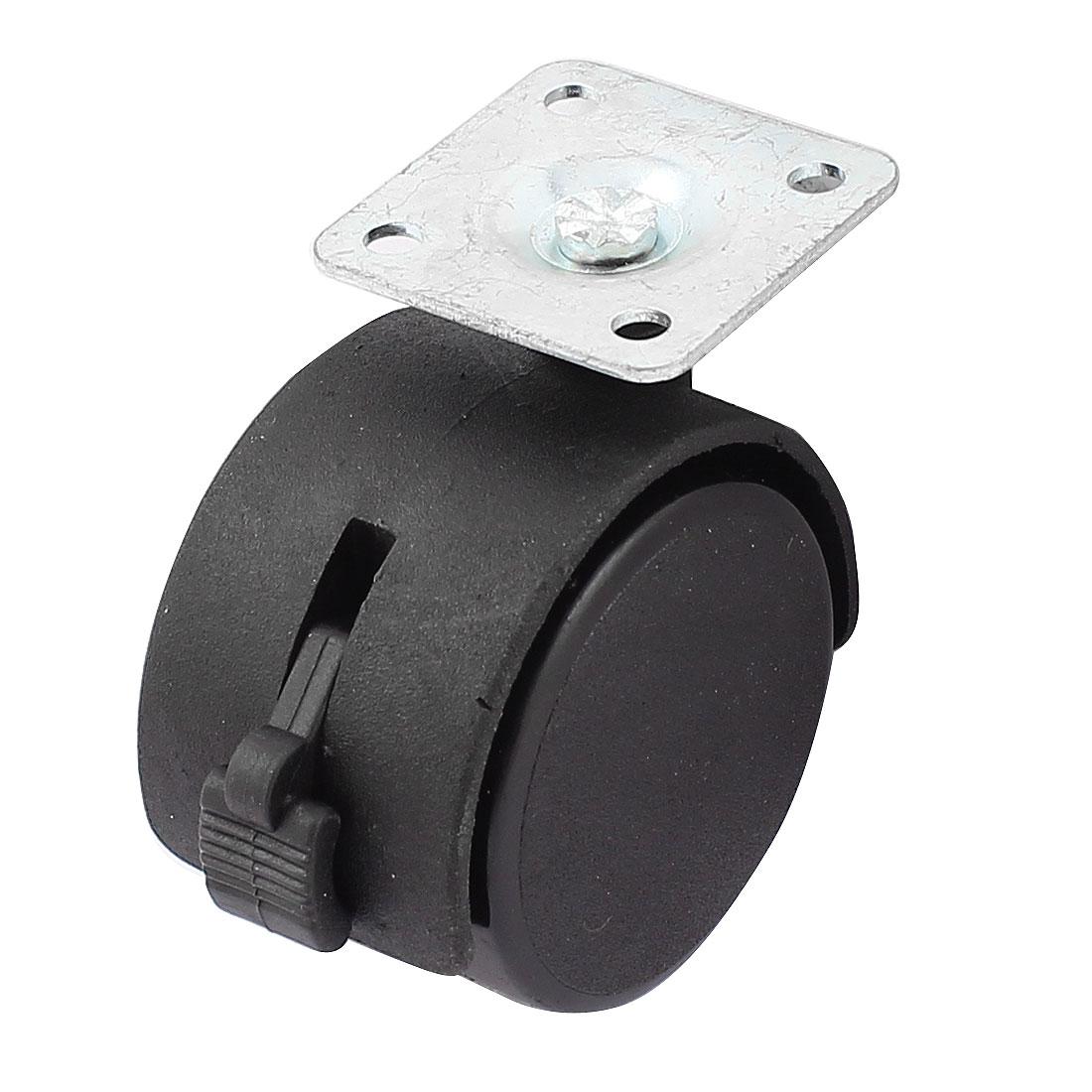 2Pcs Furniture Square Metal Mount Plate Black Twin Wheel Swivel Caster
