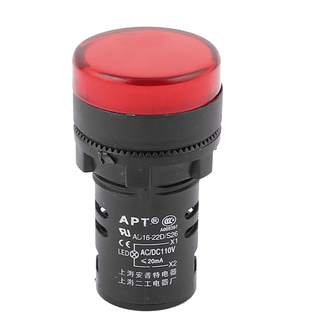 AC/DC 110V 20mA 22mm Thread Diameter Red LED Pilot Panel Indicator Light