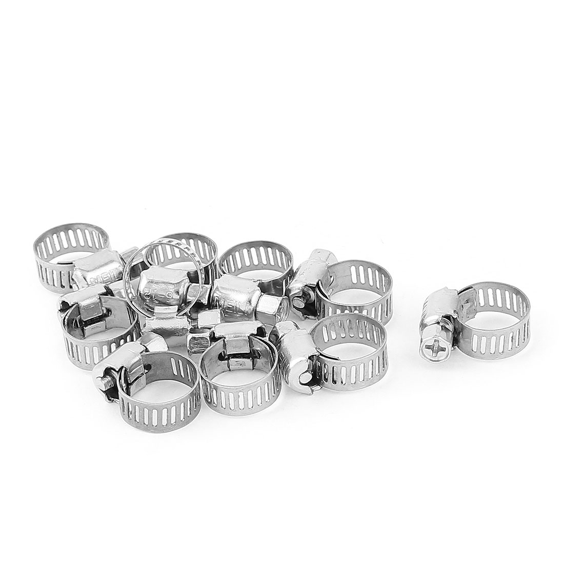 Stainless Steel Adjustable 6-12mm Pipe Tube Hose Clip Clamp 10pcs