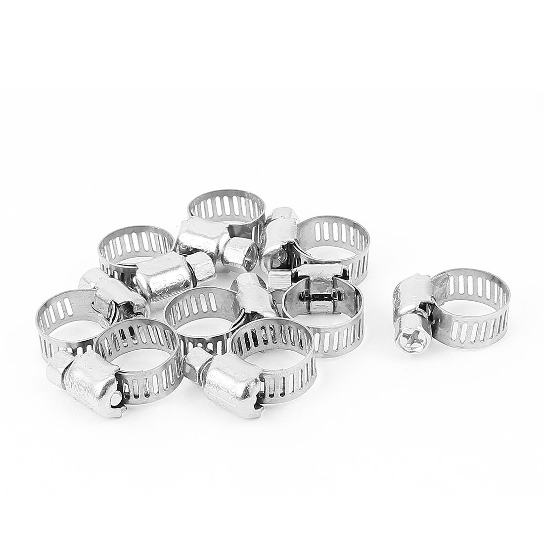 Adjustable 6mm-12mm Stainless Steel Worm Gear Hose Clamps 9pcs