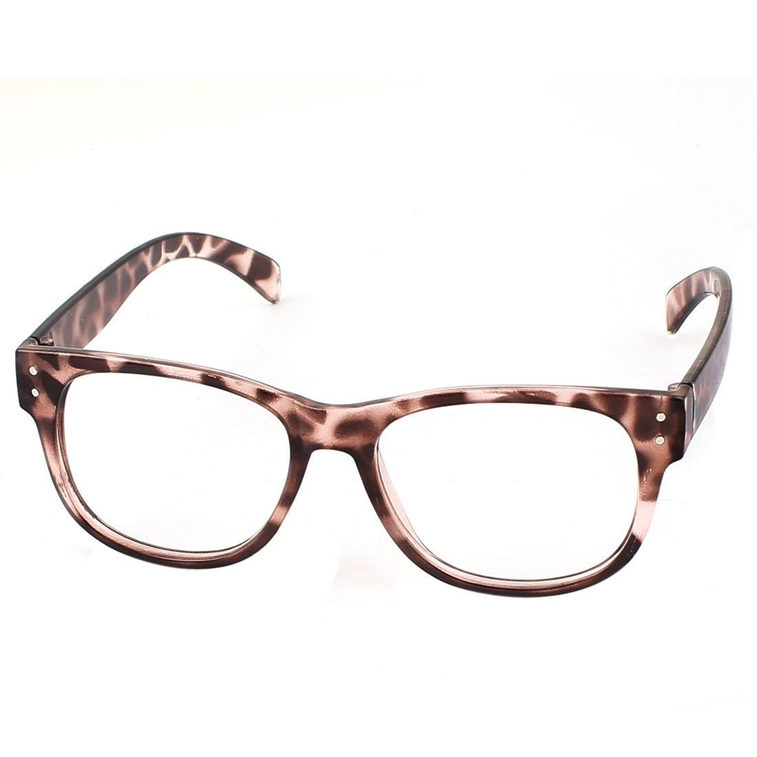 Full Rim Leopard Pattern Slim Temple Lensless Glasses Eyeglasses Frame