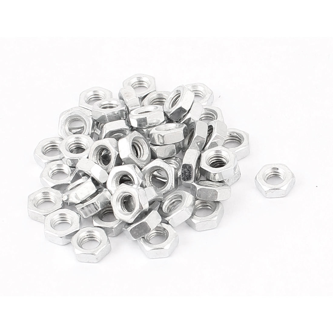 50pcs M3 Female Thread Metal Hex Nut Fastener Silver Tone