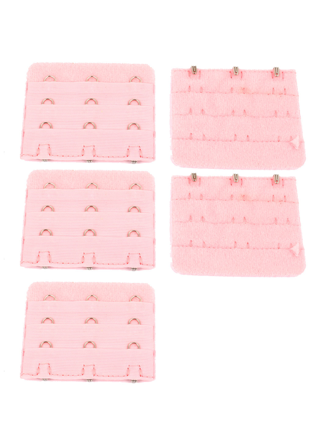 Women Underwear Buckle 3 Rows Hooks Bra Back Extenders Strap Extention Pink 5pcs
