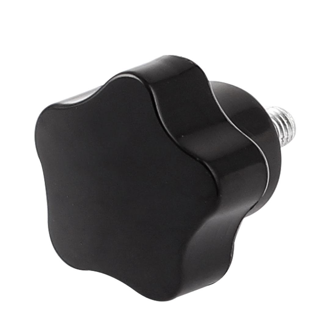 M5 x 10mm Male Thread Star Head Clamping Knob Black