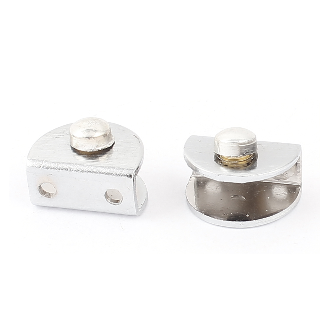2pcs Stainless Steel Half Round Glass Board Clamp Clip Silver Tone