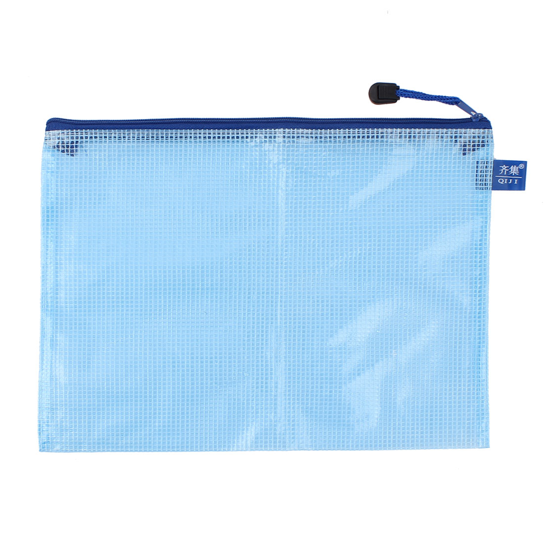 Plastic Office School Zip Up A5 Size Paper Document Art File Bag Blue 2Pcs