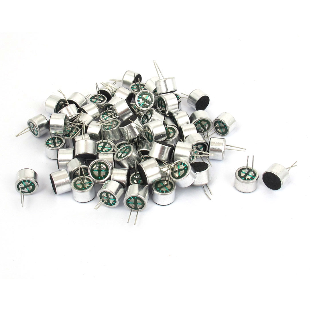 100pcs Cylinder 2 Terminals Soldering Mini Electret Microphone Condenser Pickup