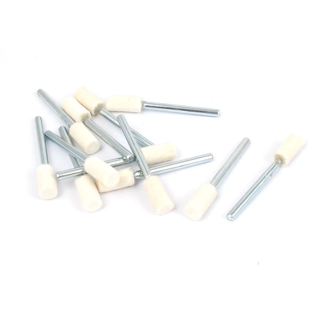 12pcs Polishing 3mm Dia Shank 6mmx13mm Cylinder Shaped Head Felt Bobs Rotary Tool