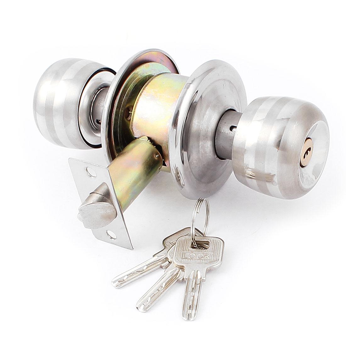 Bedroom Bathroom Round Knobs Door Knob Lock Locks Hardware w Keys