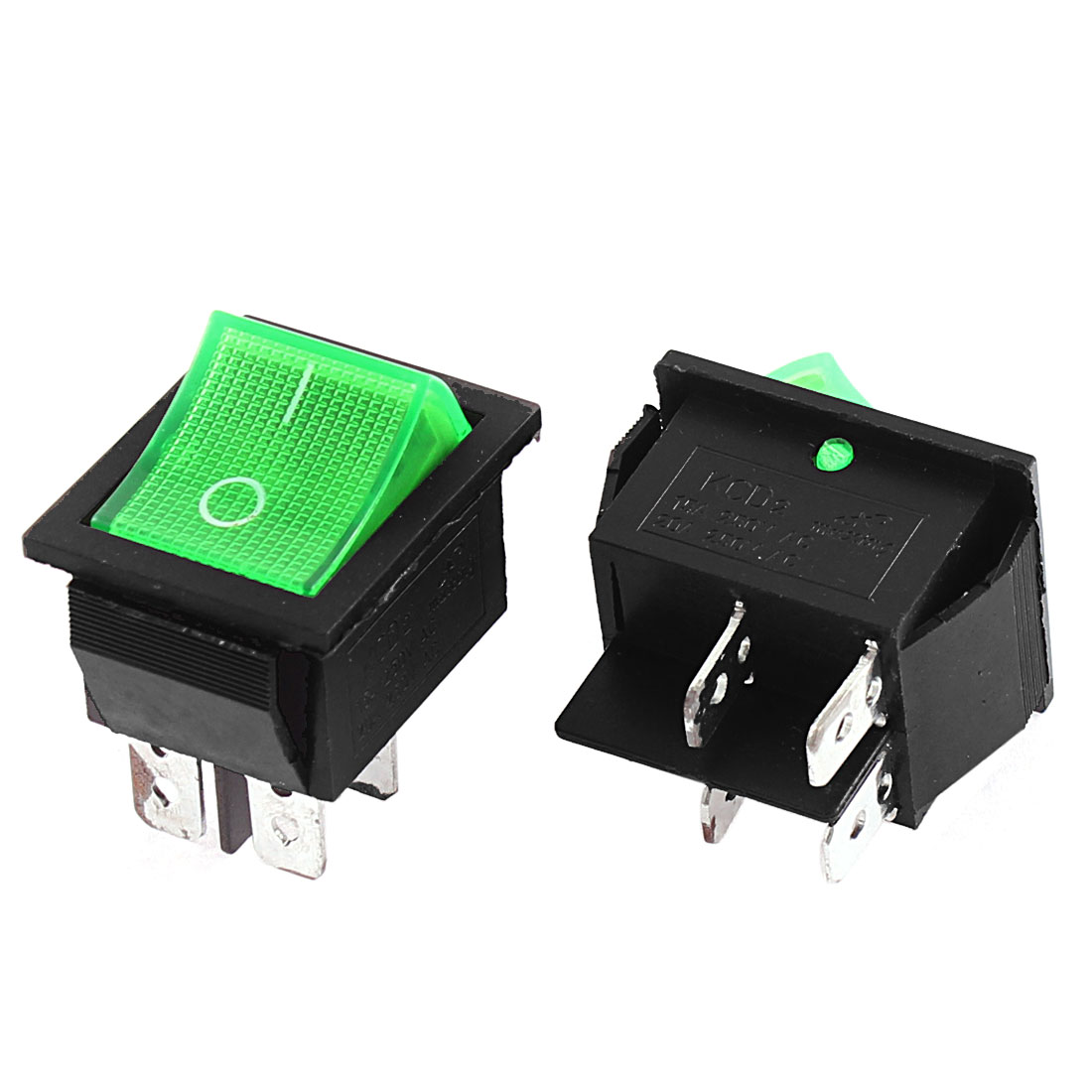 AC 250V 15A 20A Green Light Illuminated DPST ON-OFF Rocker Toggle Switch 2Pcs