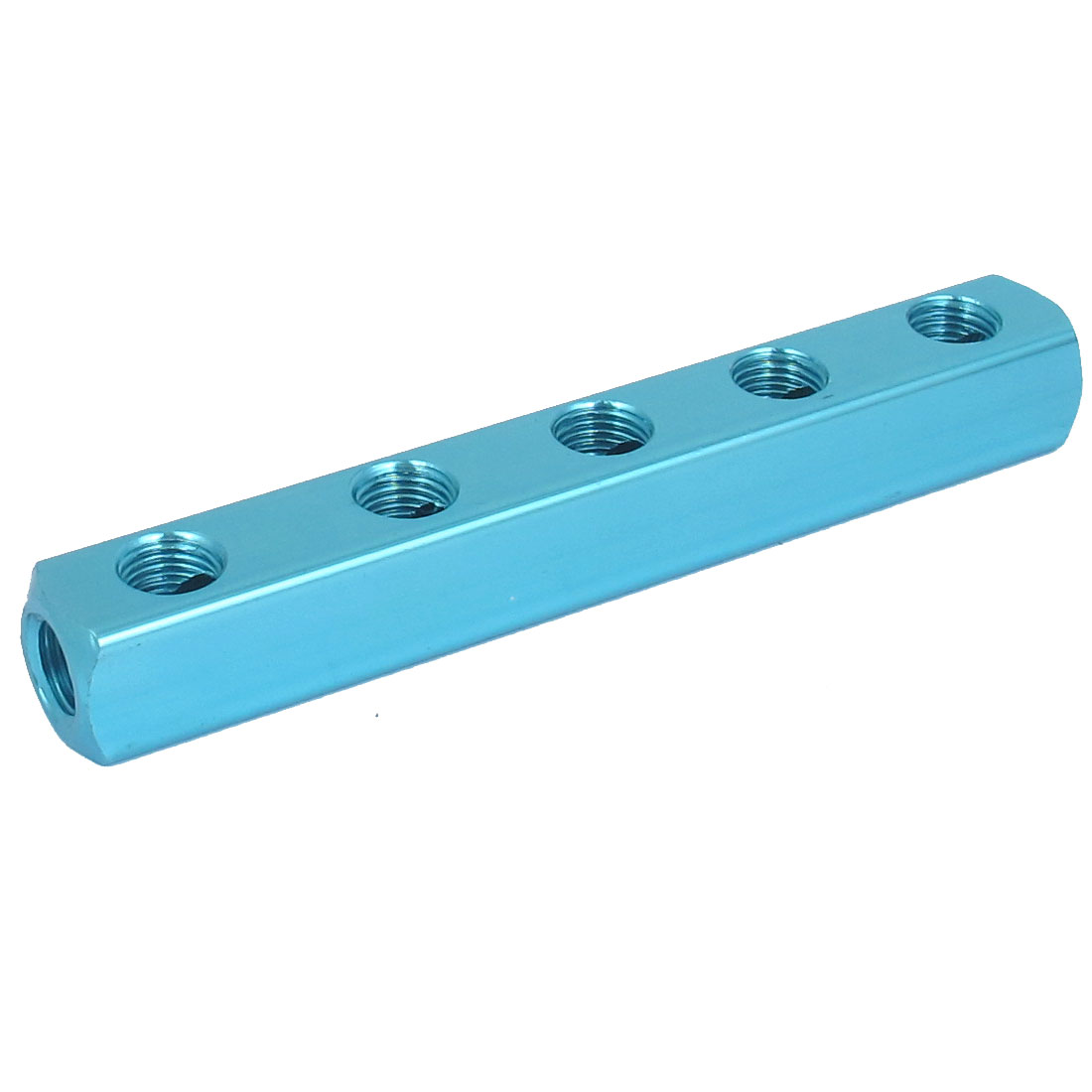 Air Compressor Pneumatic 1/4BSP Thread 5 Way 8 Ports Hose Inline Manifold Block Splitter Socket Blue