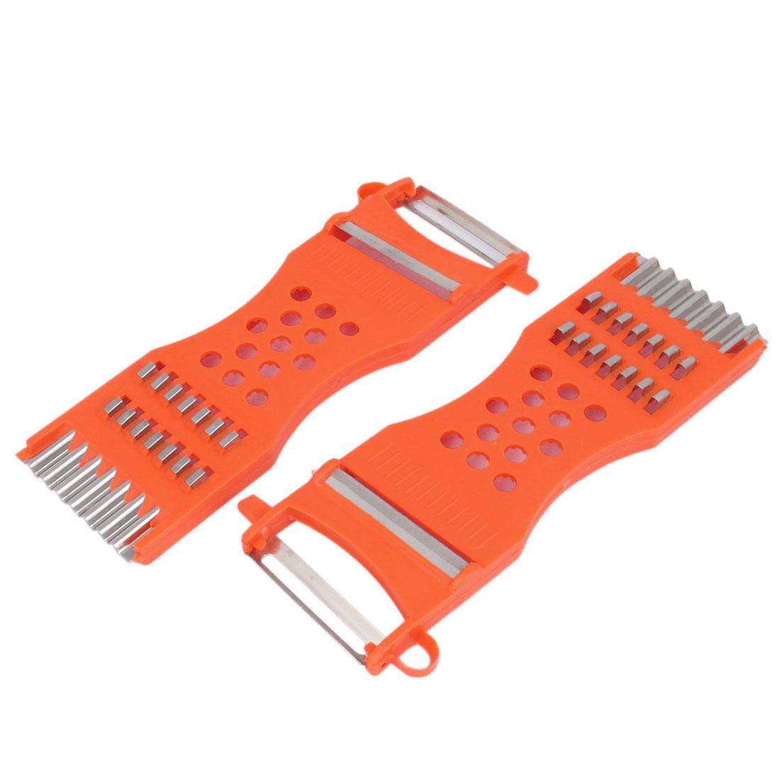 Kitchen Red Plastic Handle Metal Blade Fruit Vegetable Peeler Grater Slicer Cutter Tool 2pcs