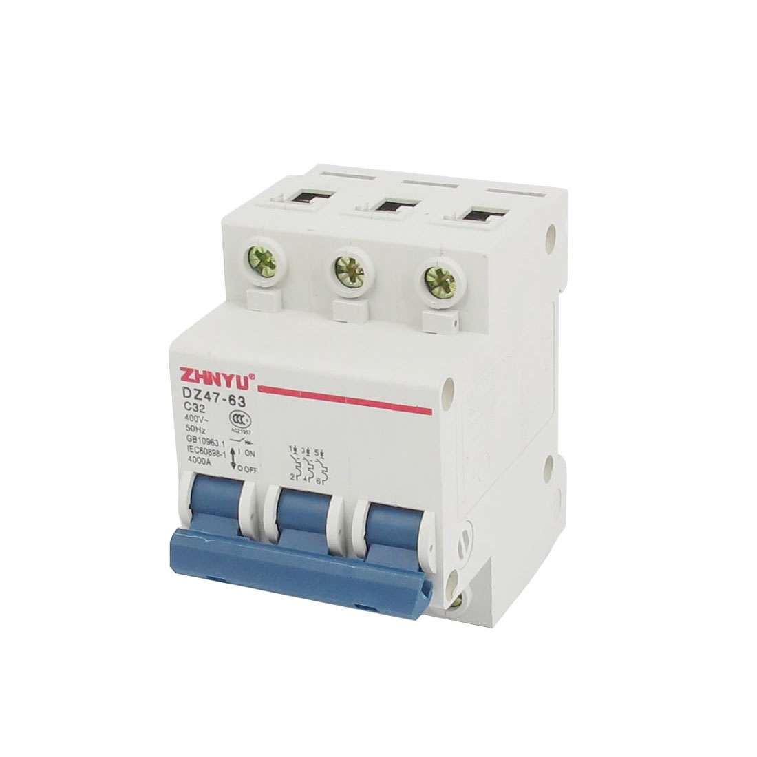 AC 400V 50Hz 32A 4000A Breaking Capacity 3P ON/OFF Switch Overload Protection Mini Circuit Breaker