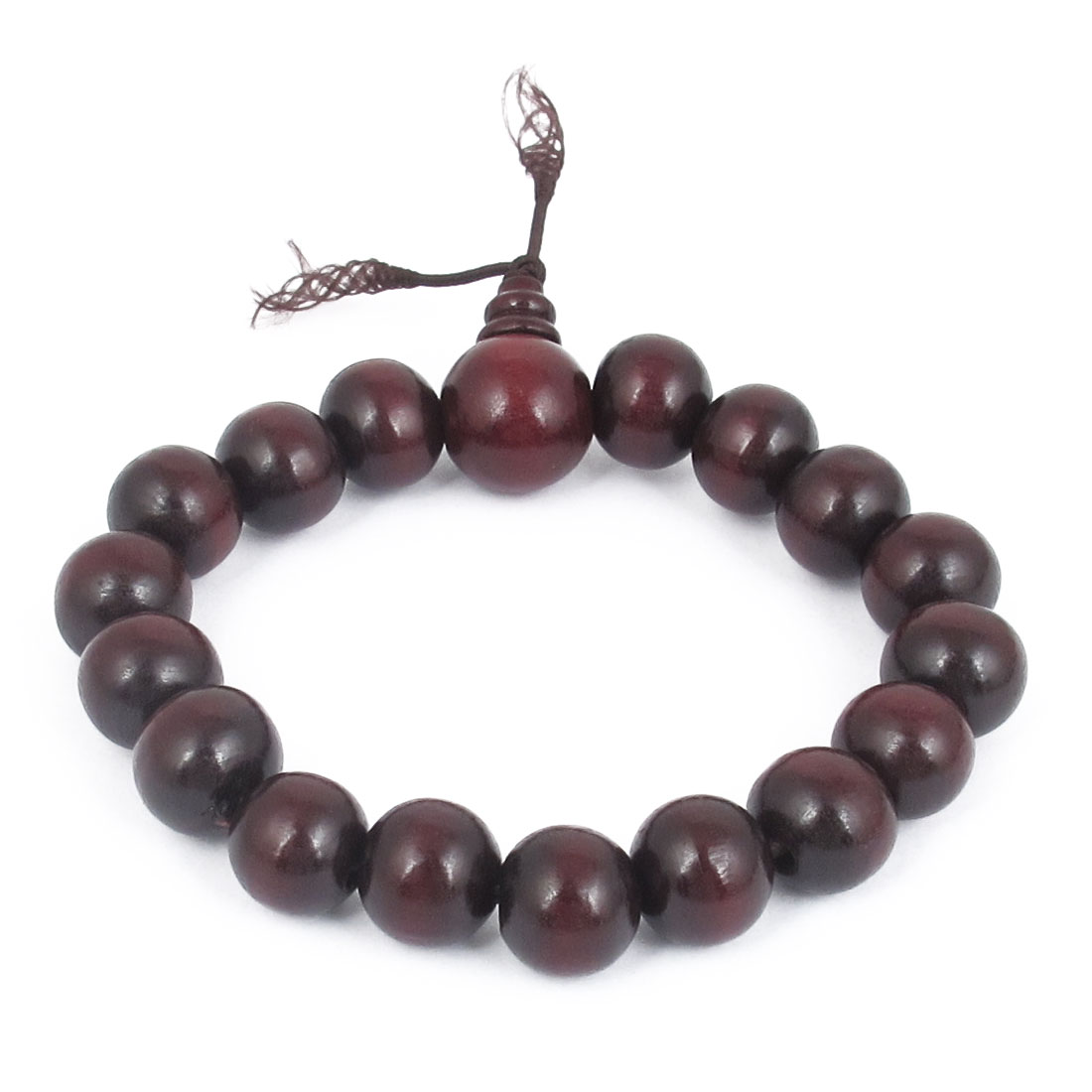 22cm Girth Dark Brown Wood Round Beaded Linked Elastic Wrist Bracelet Ornament for Unisex