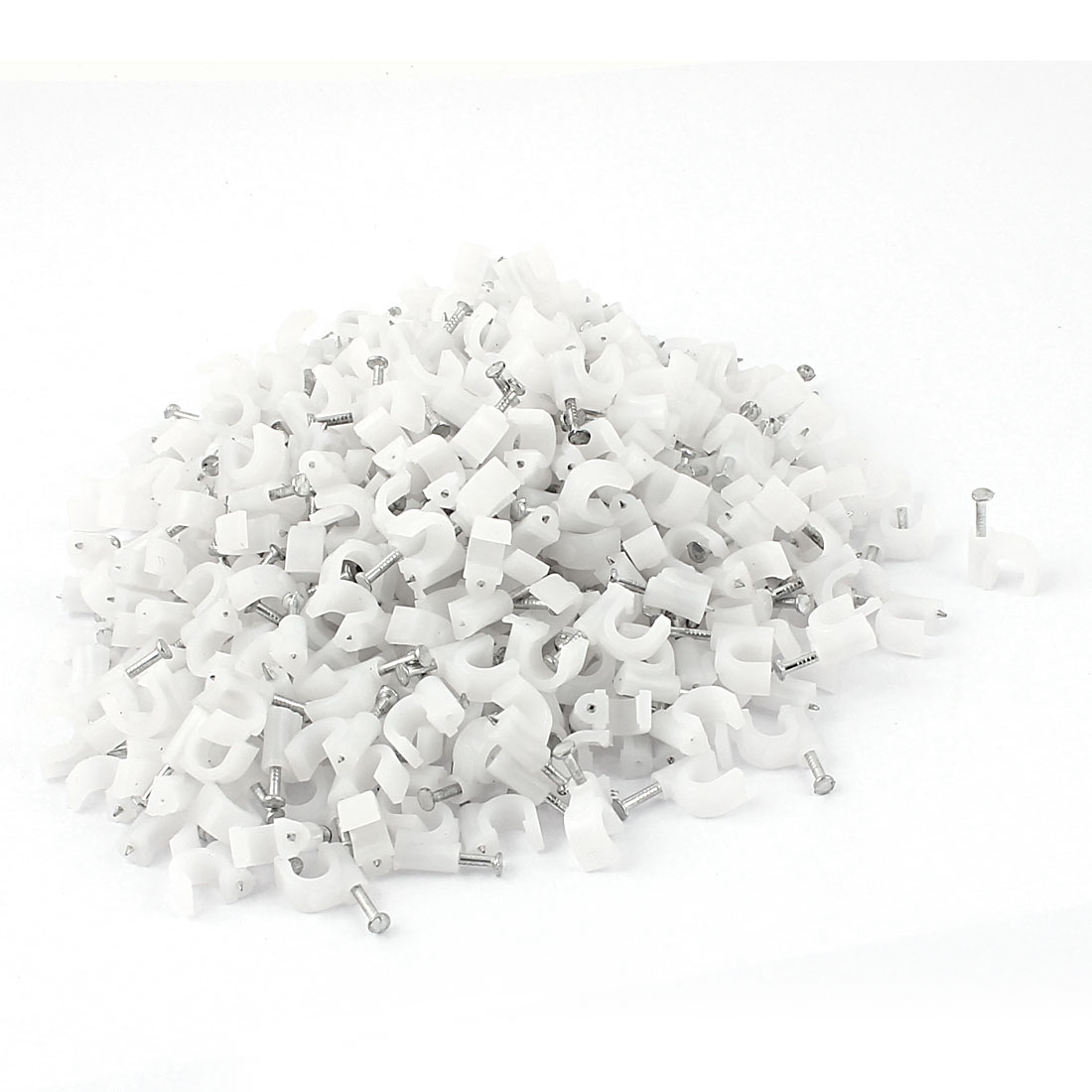 Coax Cat5 Cat6 Cable Plastic 5mm Nail Clips Clamps White 350pcs