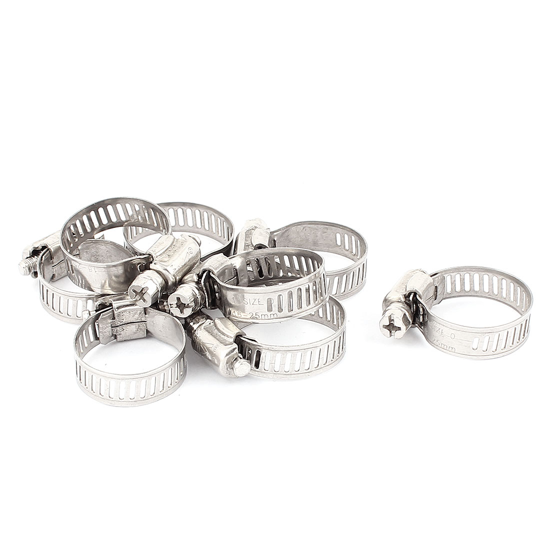 8pcs Stainless Steel 16-25mm Air Water Fuel Hose Clamps Pipe Clips