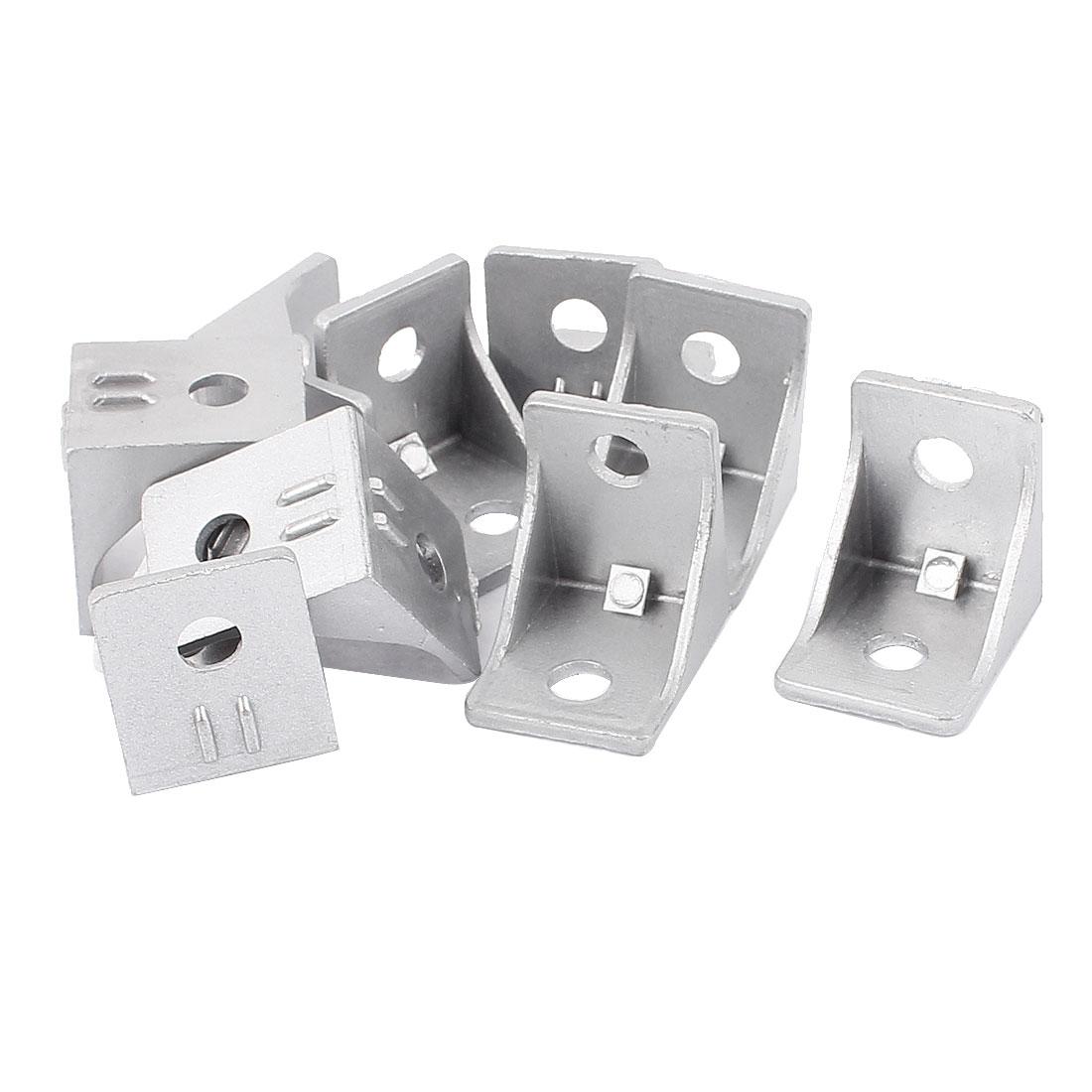 10pcs Aluminum Alloy Corner Braces Angle Brackets Supports Silver Tone