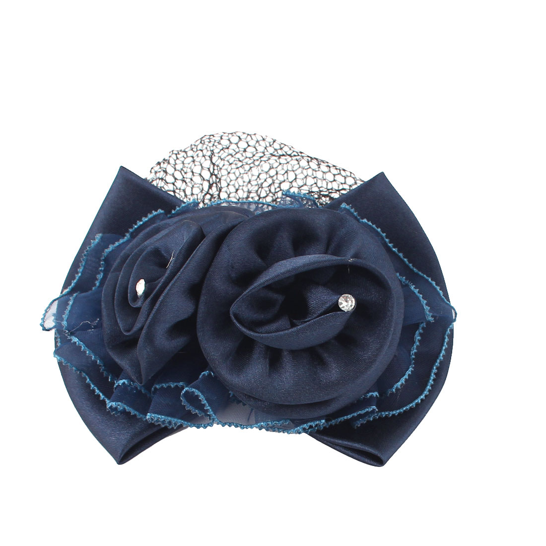 Lady Women Blue Mesh Flower Hair French Clip Hairclip Barrette