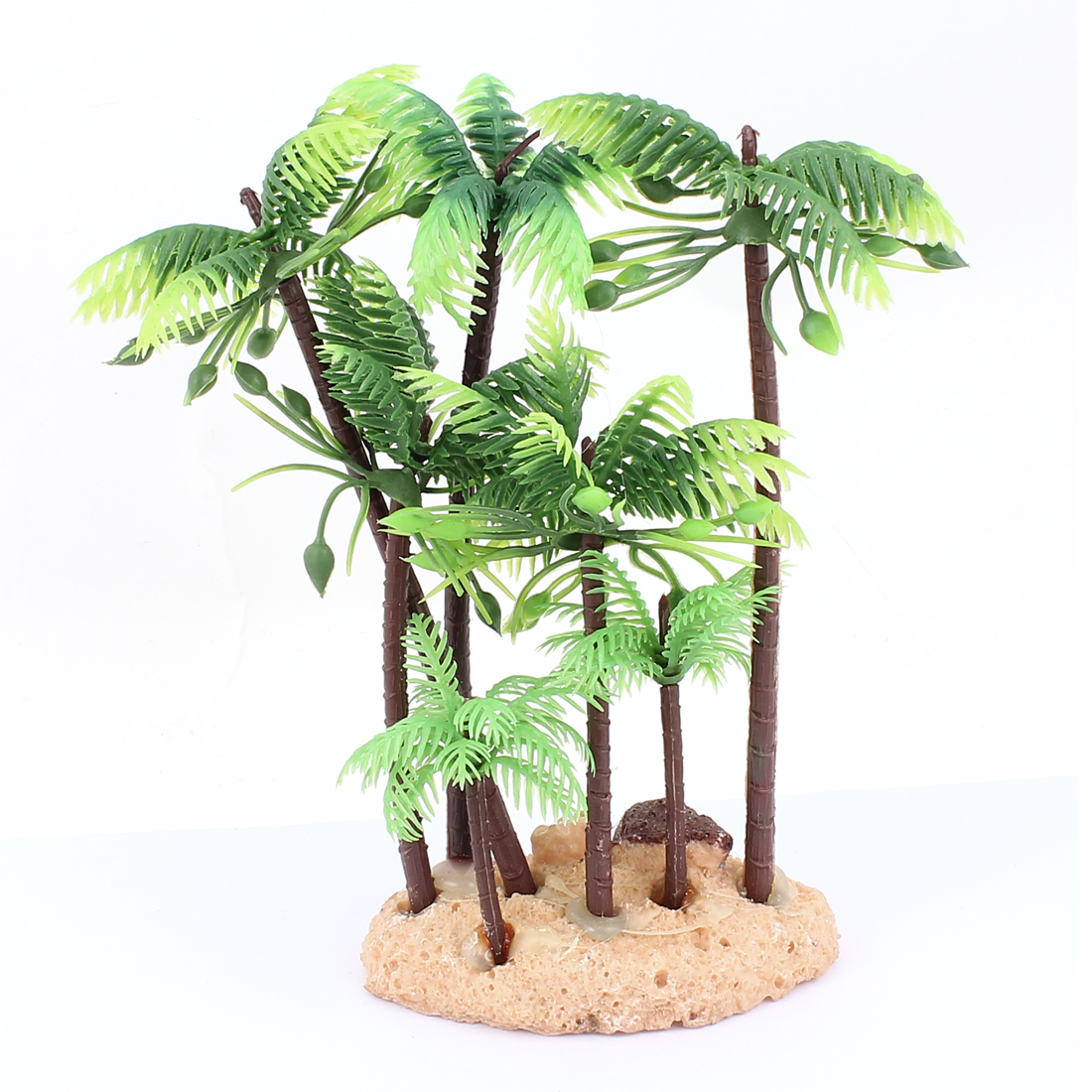 Aquarium Plastic Green Coconut Tree Water Grass Plant Decoration