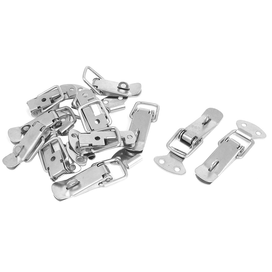10pcs Sillver Tone Metal Spring Loaded Toolbox Box Chest Case Draw Toggle Latch Hasp