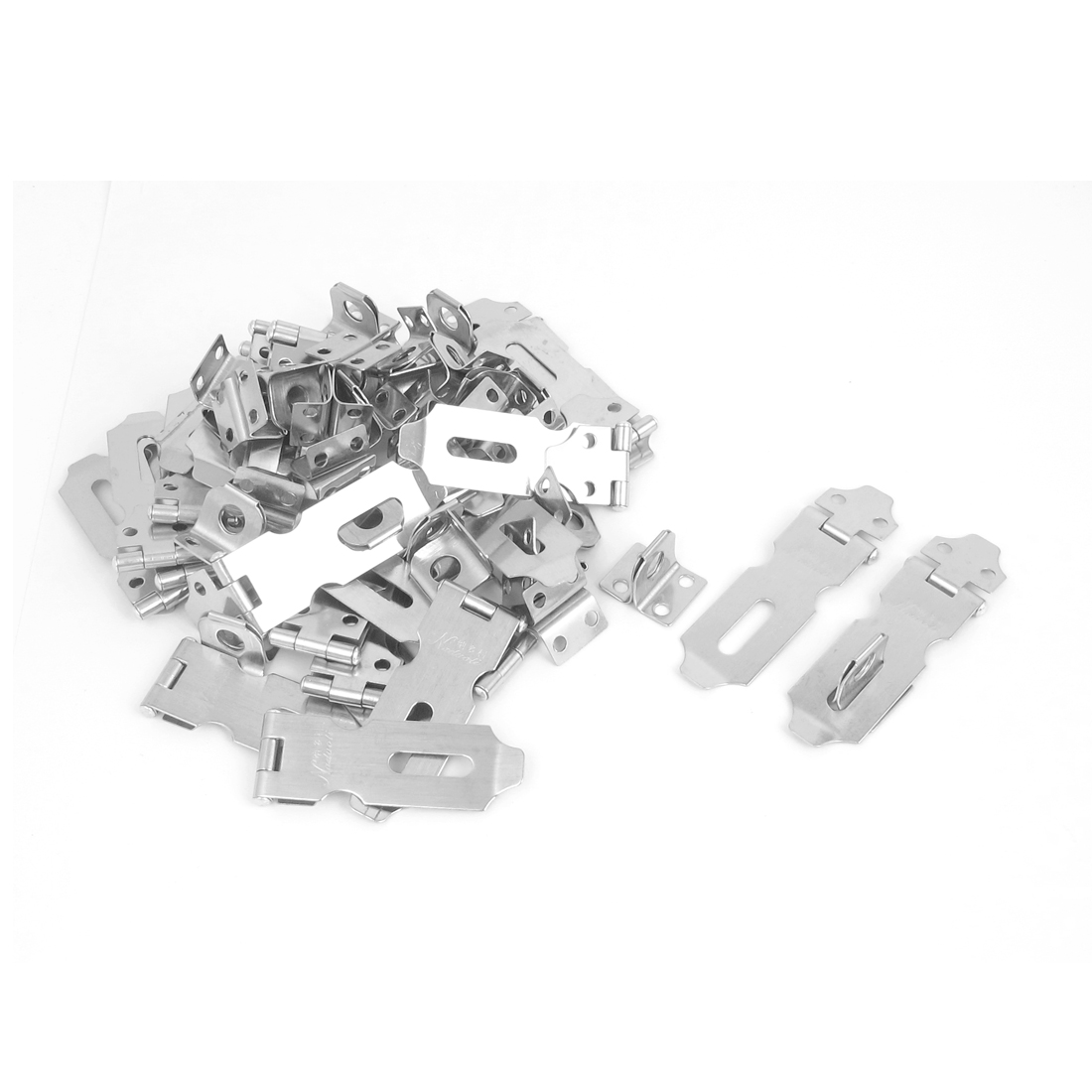 30pcs Silver Tone Metal Safety Gate Cabinet Clasp Lock Locking Padlock Latch Hasp Staple