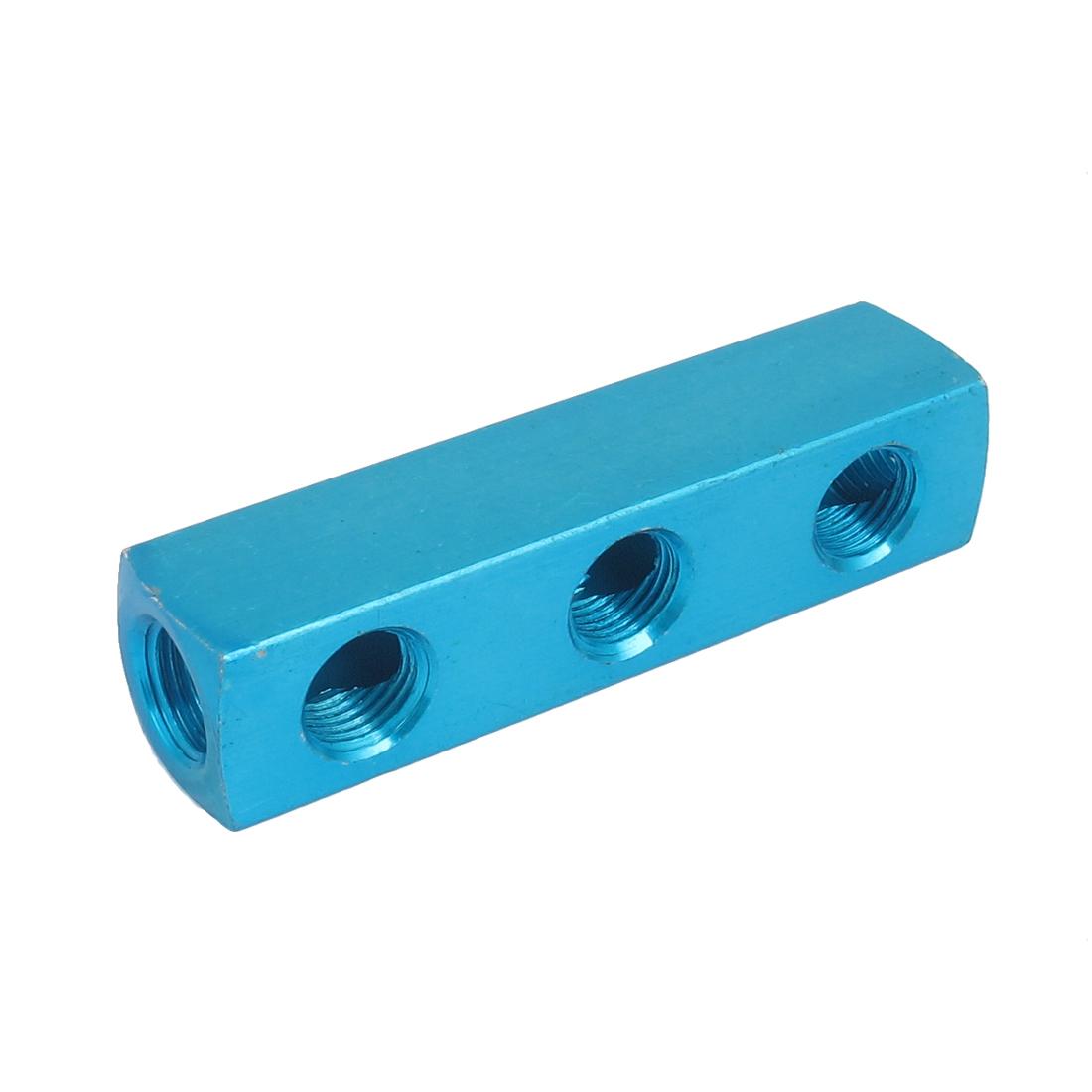 Air Compressor 1/4BSP Thread 3 Way 6 Ports Quick Connect Hose Inline Manifold Block Socket Blue