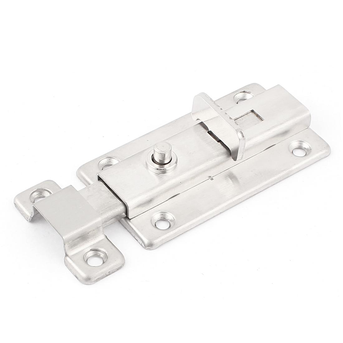 "3"" Long Home Cabinet Door Safety Slide Latch Lock Metal Barrel Bolt Silver Tone"