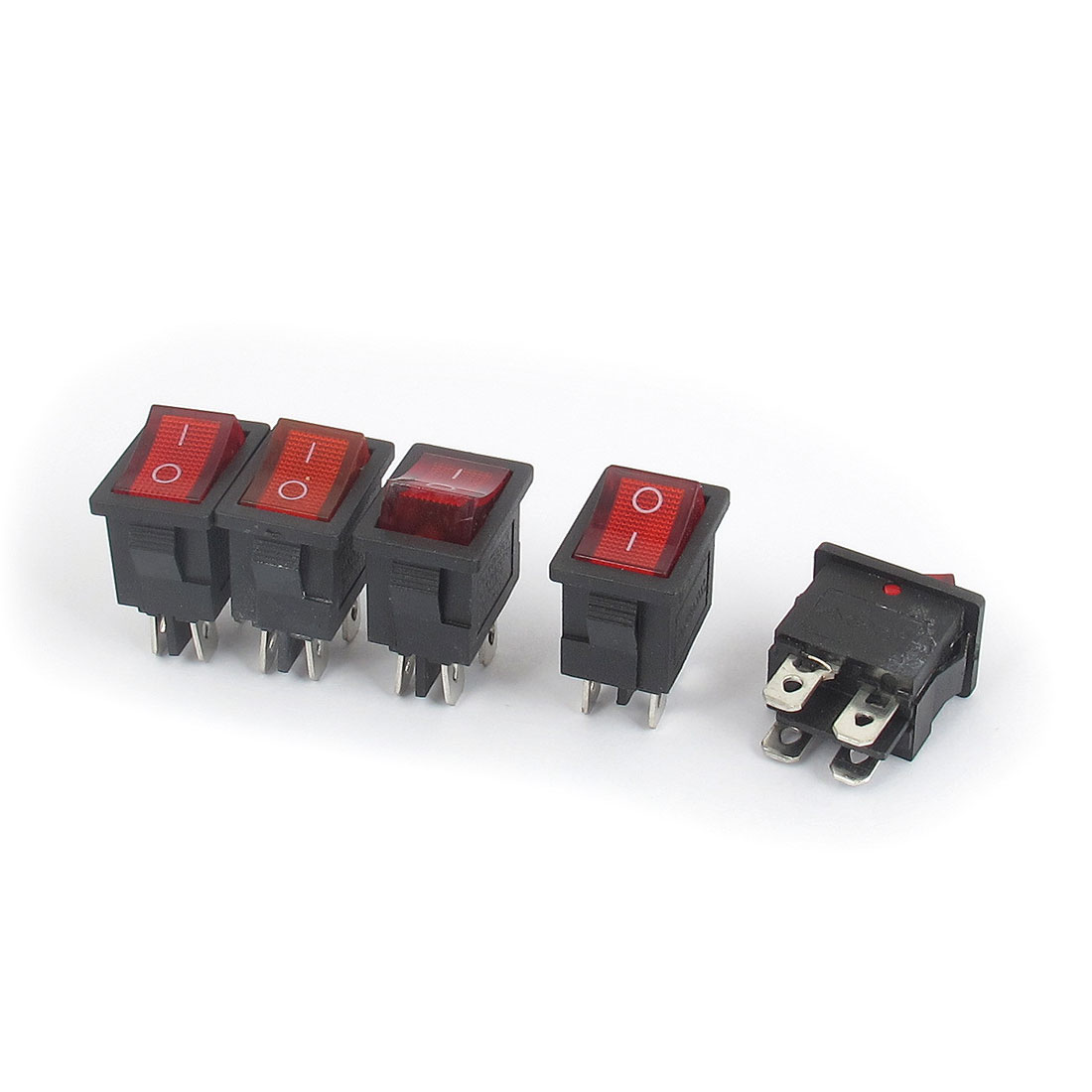 AC 250V/125V 10A/6A DPST ON/OFF 2 Position 4 Terminals Soldering Snap in Type Red Lamp Boat Rocker Switch 5pcs